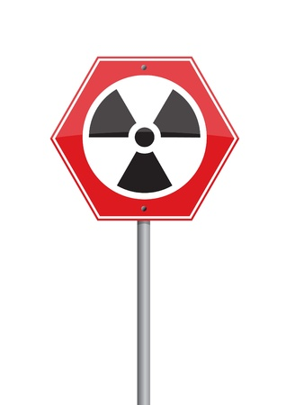 warning  nuclear on red Road sign Stock Photo - 10293955