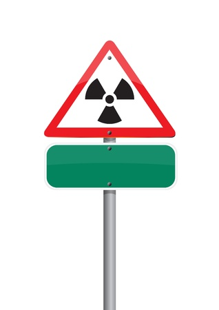 warning  nuclear on red Road sign Stock Photo - 10293954