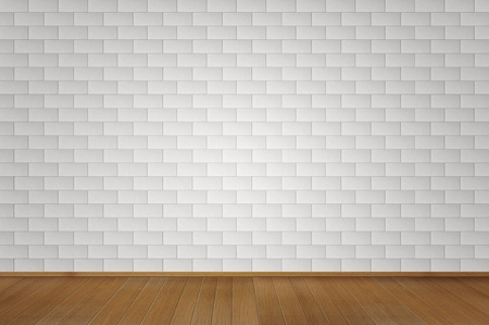 Blank white brick room with wooden floor  photo