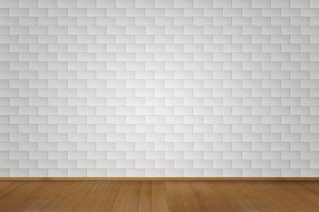 Minimalism: Blank white brick room with wooden floor  Stock Photo