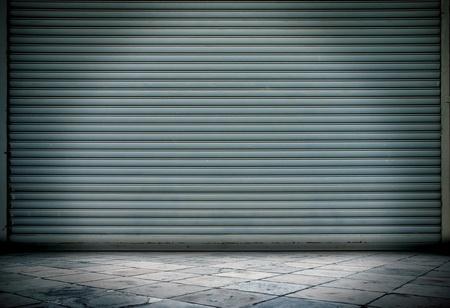 garage door: Grunge room metal line stone Stock Photo