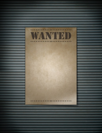 A paper wanted on line steel  Stock Photo - 10294004