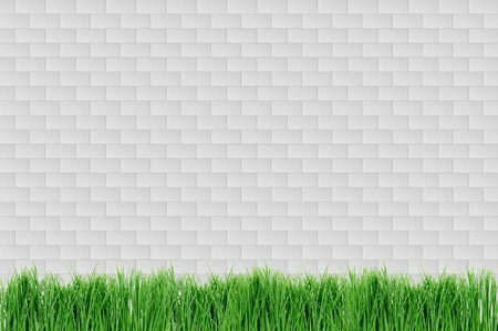 white brick wall and grass photo