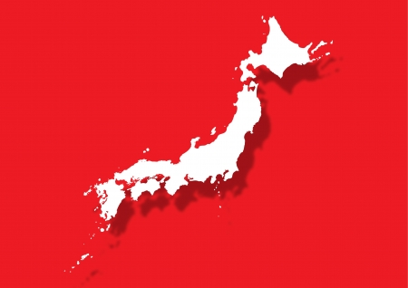 japanese flag: Red white Japan map with shadow