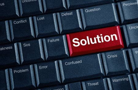 solution concept with blue keyboard button  Stock Photo
