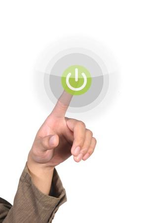 touching screen on green button Stock Photo - 10334009
