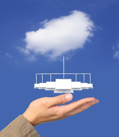 cloude: cloude computing network on hand Stock Photo