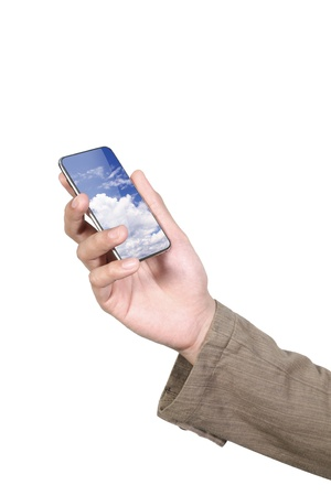 Businessman holding his mobile phone photo