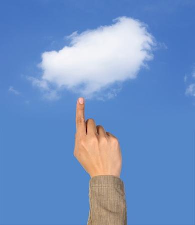 call us: Hand select the cloud computing Stock Photo