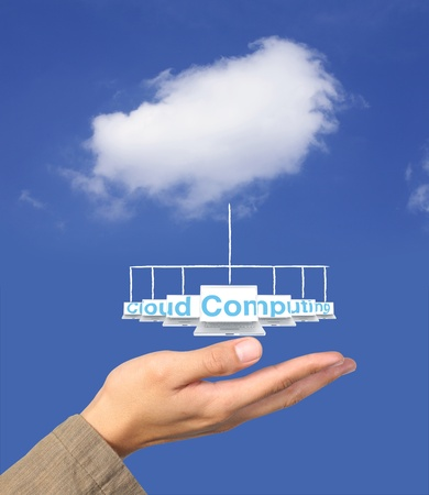 investigate: cloude computing network on hand Stock Photo