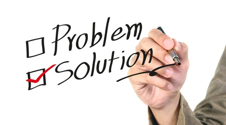 hand writing the solution isolated Stock Photo - 10334012