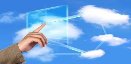 a finger pointing modern touching wide screen photo
