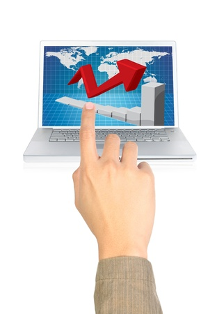 businessman pointing the chart on computer photo
