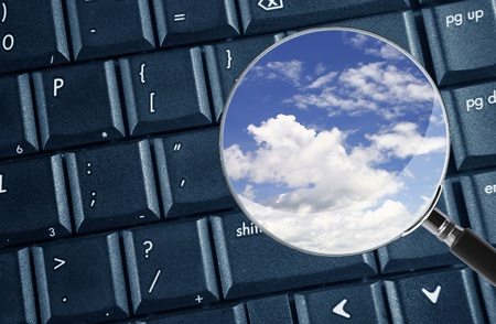 magnifying keyboard for cloud computing Stock Photo - 10334048