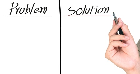 hand writing the solution isolated Stock Photo - 10346503