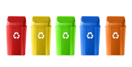 Colorful Recycle Bins on white background photo