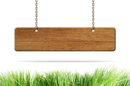 slats: wooden sign hang on white background