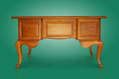 Antique carved wooden table isolated on magenta. Stock Photo - 10346553