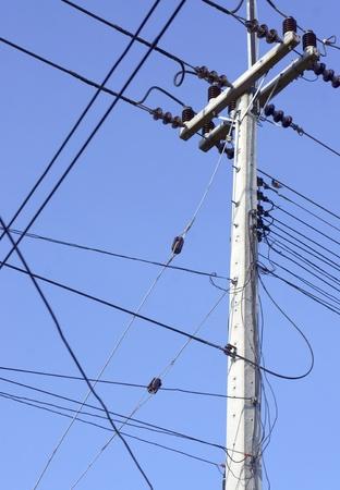 electricity supply: Electricity supply post on blue sky background