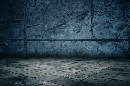 discolorations: Grungy stone room Stock Photo
