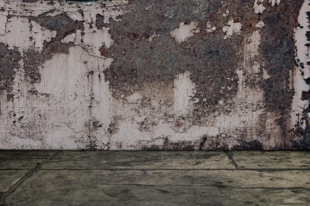 discolorations: Grunge rusty metal room, background image