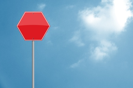 Red signal over sky background. Empty to insert text or design Stock Photo - 10346632