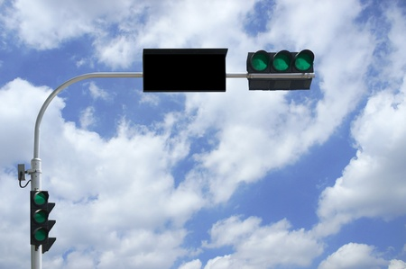 three lights are green in front of blue sky photo