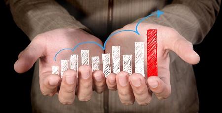 human hand showing  writing  arrows graph Stock Photo - 10366949