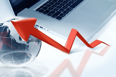 anything: red arrow graph showing high growth anything  Stock Photo