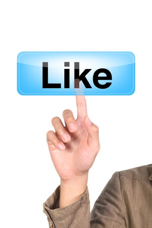 hand pushing the like blue button Stock Photo - 10612628