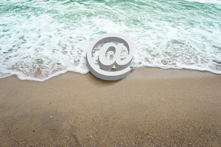 white icons symbol 3d on beach         photo
