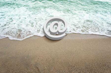 white icons symbol 3d on beach         photo