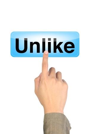 hook like: hand pushing the unlike blue button Stock Photo