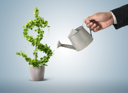 investing: Businessman and watering pot  (path in side)