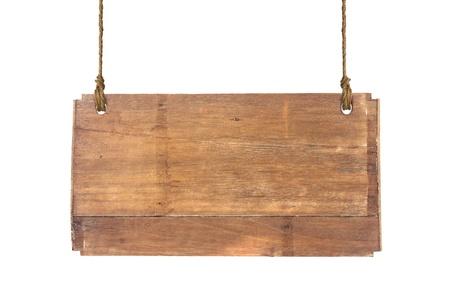 uithangbord: houten bord geïsoleerd op een witte achtergrond Stockfoto
