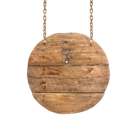 wooden circle: wooden sign on the chains.