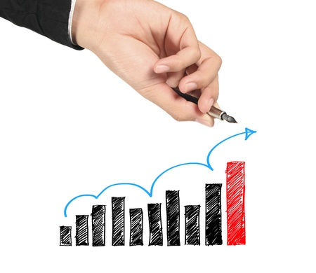 Business man hand drawing blue arrow up graphs Stock Photo - 10710244