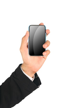Business Hand holding smart phone on white  Stock Photo - 10710126