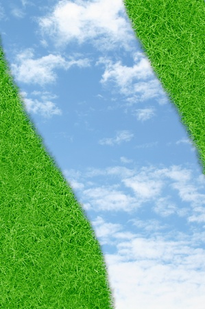 Curve green grass sky background Stock Photo - 10710563