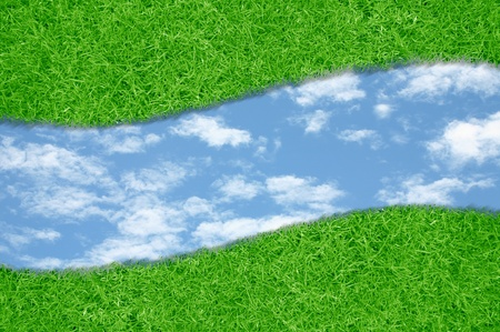 Curve green grass sky background Stock Photo - 10710565
