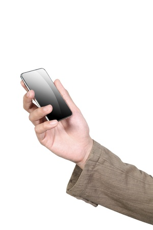 Mobile phone in hand isolated on white background  photo
