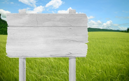wooden sign on field grass mountain photo