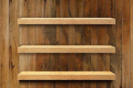 wood shelf: Empty wood shelf  Stock Photo