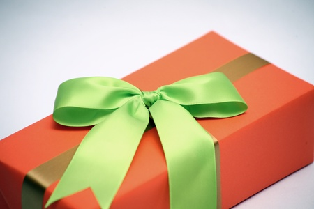 boxs: green bow on orange gift boxs (focusing on bows)