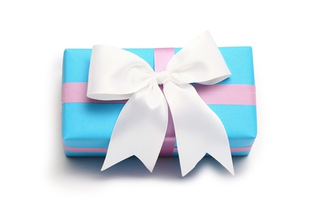 boxs: blue gift boxs and white bow