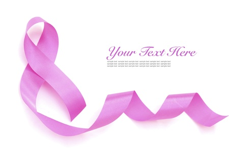 women breast: Pink breast cancer ribbon.  Stock Photo