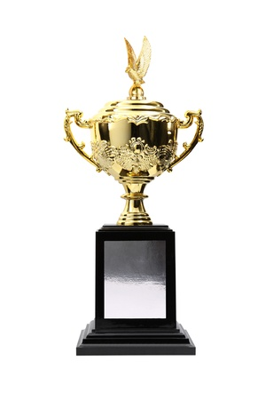 Gold trophy cup isolated on white background  photo