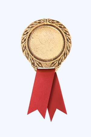blank gold award ribbons on white(path in side) photo