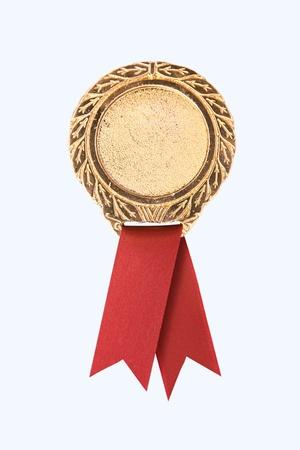 primer lugar: Premio de Oro en blanco cintas sobre fondo blanco (camino en el lado)