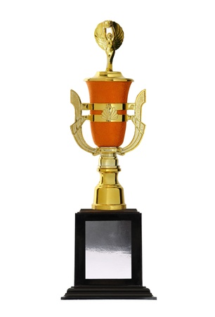 golden trophies awards cup isolated photo